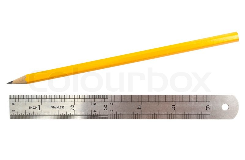 simple pencil and ruler on white stock photo colourbox
