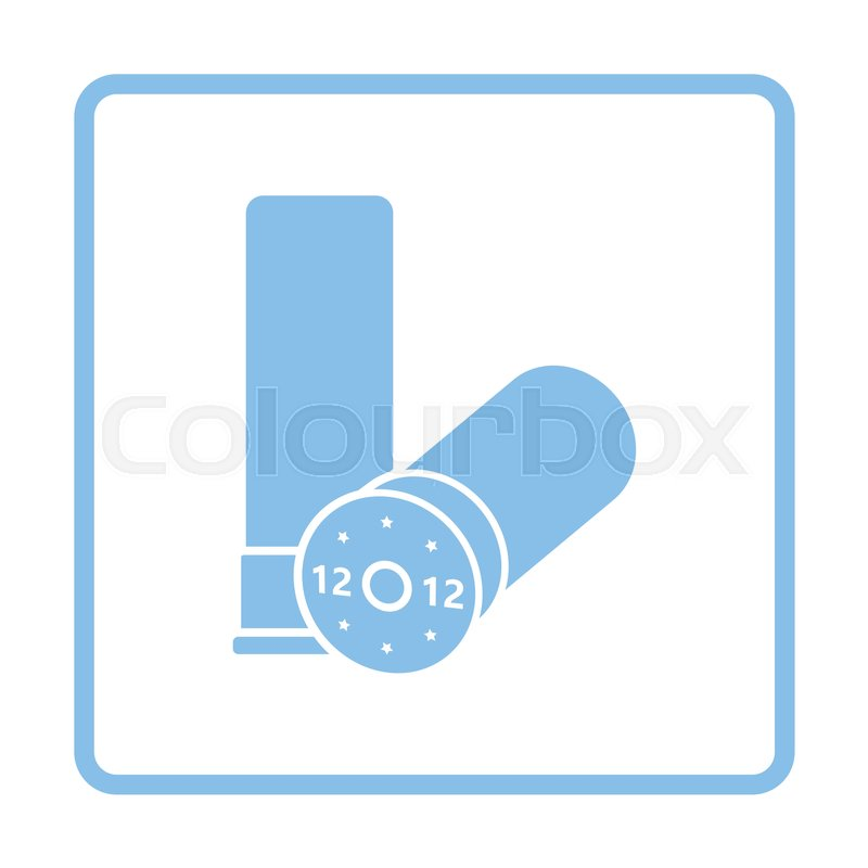 Hunt gun ammo icon. Blue frame design. Vector illustration. | Stock ...
