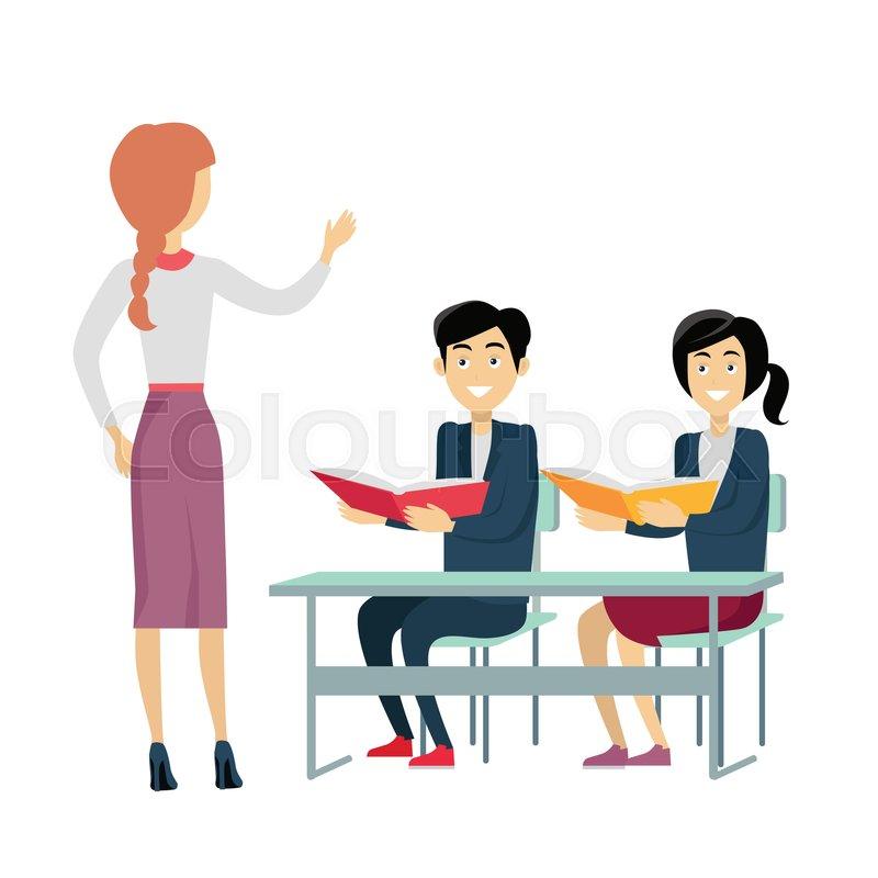 Modern Classroom Vector ~ School lesson vector flat design woman teacher talking