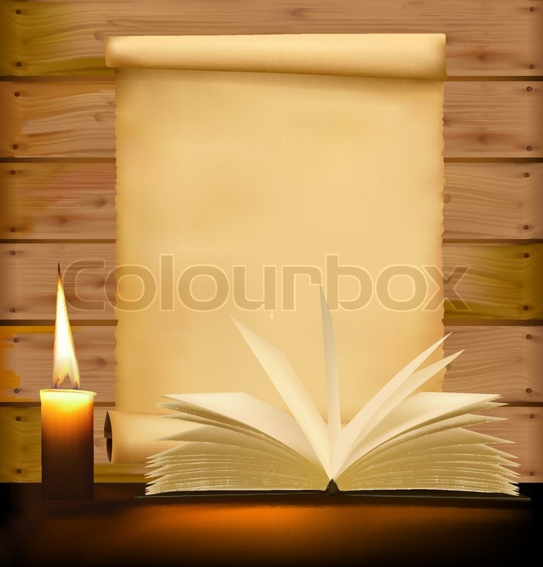 Old paper, candle and open book on wood background. Vector ...