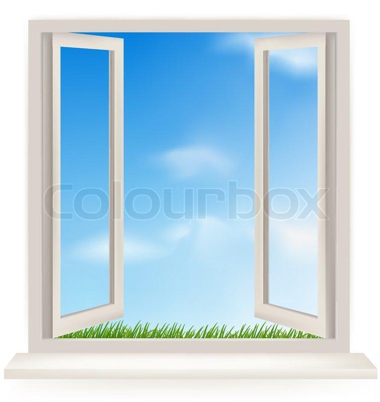Open Window Clipart Clipart Suggest: Åbent Vindue Mod En Hvid Væg Og Den Overskyede Himmel