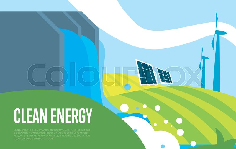 Clean Energy Vector Illustration Natural Landscape With