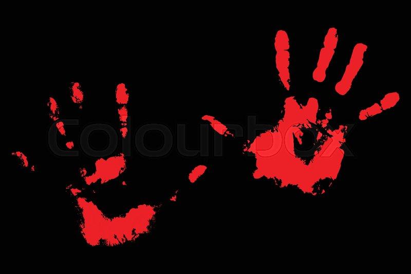 bloody handprints on black print of human palm vector