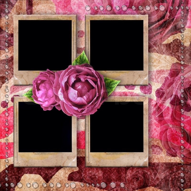 Romantic vintage background with frames, dry rose and drops | Stock ...