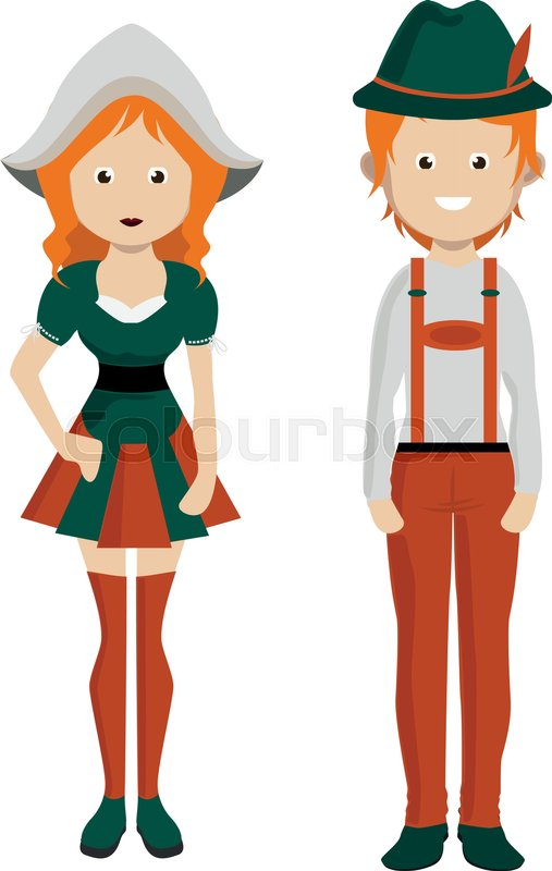 Cartoon German Man And Woman Couple In National Costume