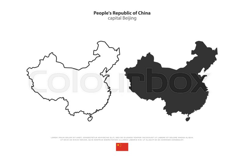 Peoples Republic of China isolated map and official flag icons
