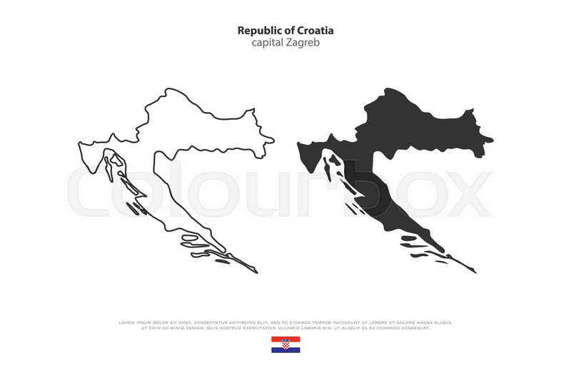 Republic of Croatia isolated map and ... | Stock Vector | Colourbox