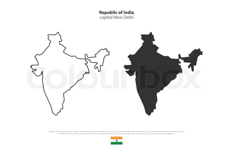 Republic Of India Isolated Map And Official Flag Icons. Vector Indian  Political Maps Illustration. South Asia Country Geographic Banner Template.  Travel And ...
