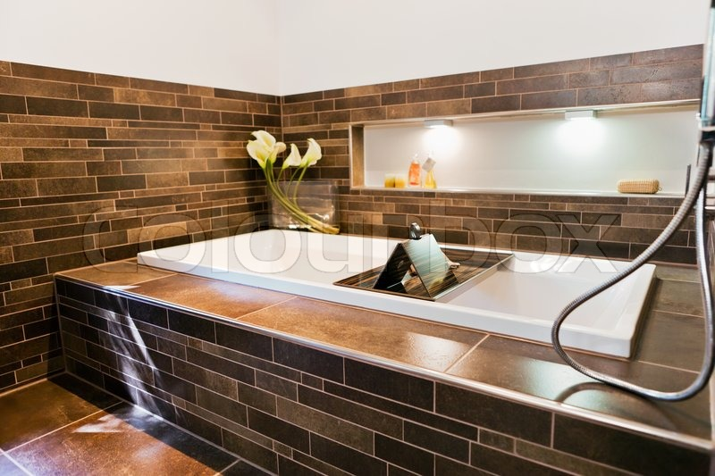 Beautiful interior of a bathroom modern house | Stock Photo | Colourbox