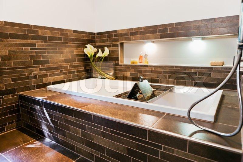 Beautiful interior of a bathroom modern house stock for Nice houses interior bathrooms
