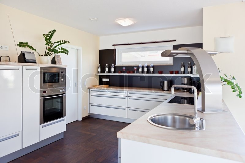Modern House Interior Of Kitchen Room Stock