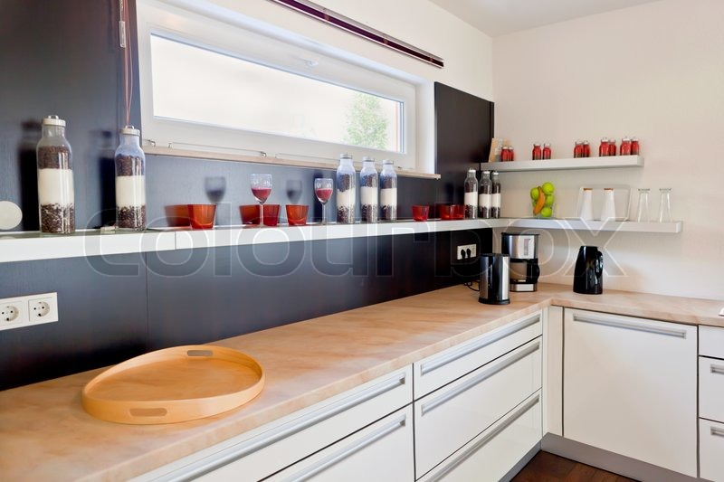 Modern house Interior of modern kitchen room Stock Photo