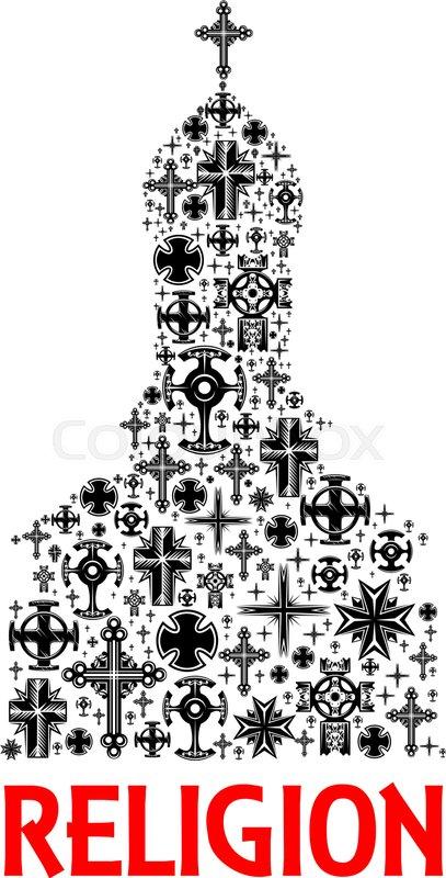 Church Icon Made Of Christian Cross Elements Orthodox Catholic