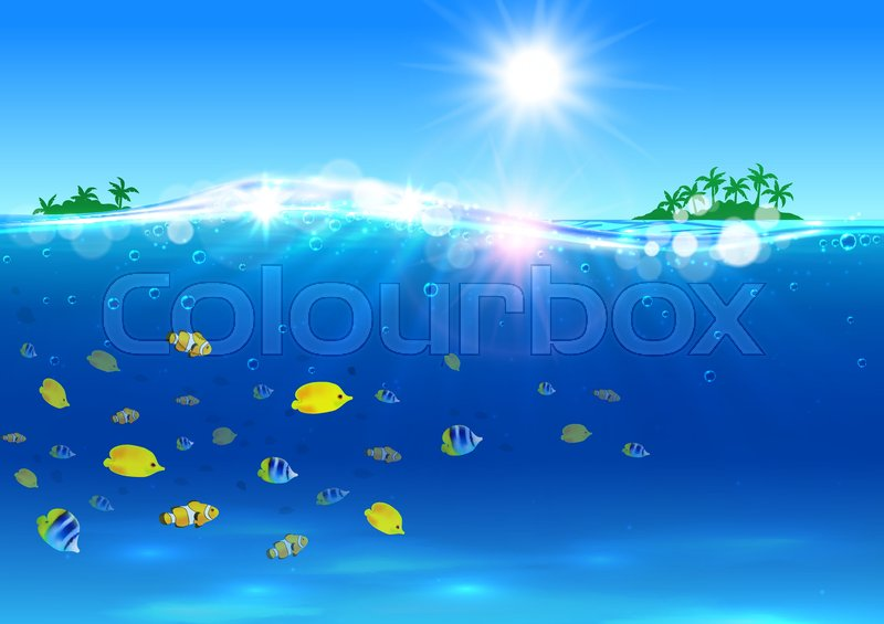 Paradise Wallpaper With Ocean Tropical Palm Island Shining Sun Water Waves Bright Fishes Placard For Tourism Advertisement Travel Agency