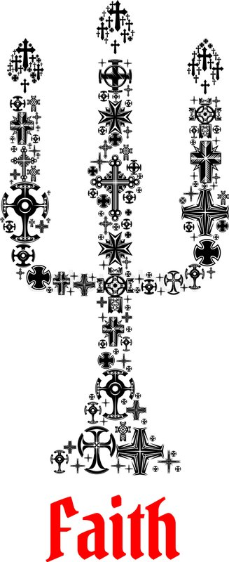 Faith Icon Religion Christianity Cross Symbols In Shape Of Church