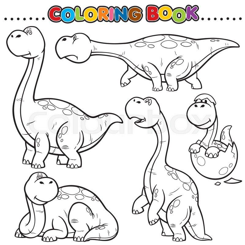 Cartoon Coloring Book - Dinosaurs   Stock Vector   Colourbox