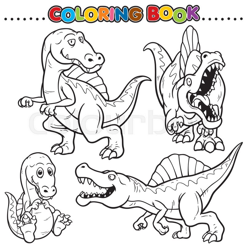 Cartoon Coloring Book - Dinosaurs | Stock Vector | Colourbox