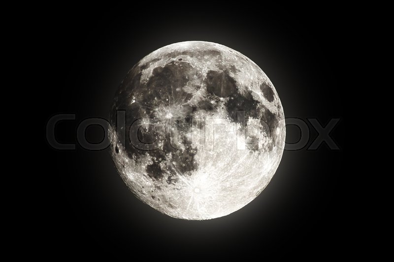 Full super moon over dark black sky at night taken on 18 august 2016. Full moon background. Phase of the moon, full moon. Highly detailed photo of the bright full moon in the night sky, stock photo