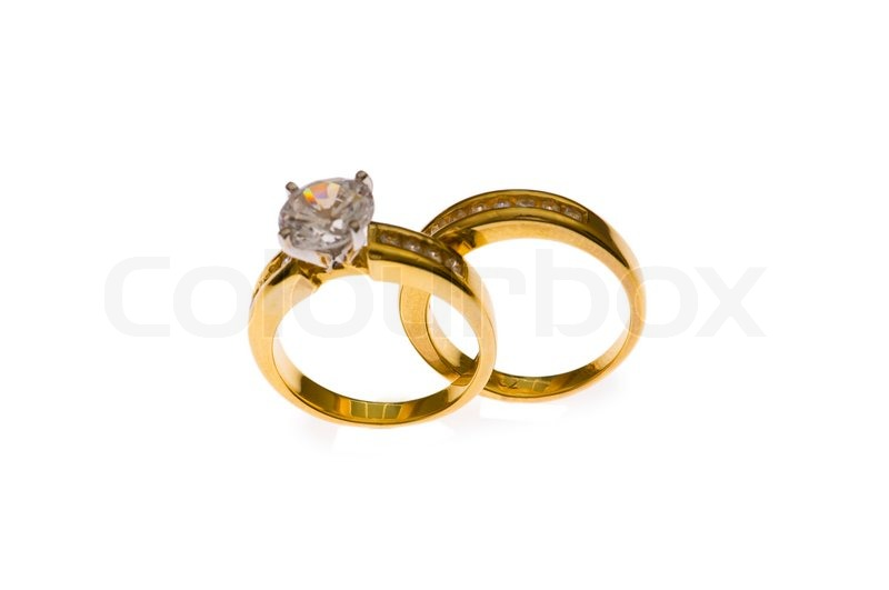 Stock Image Of Two Wedding Rings Selective Focus At The Lower Part