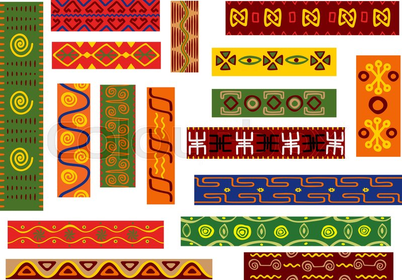 African ethnic ornament set with geometric and floral patterns Impressive African Tribal Patterns