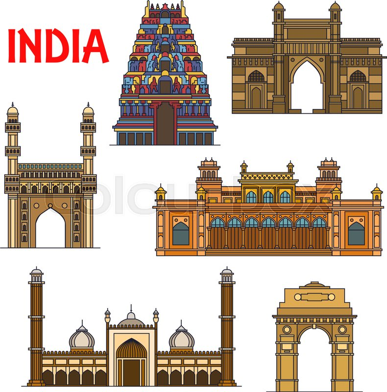 travel landmarks of indian architecture icon with thin line india