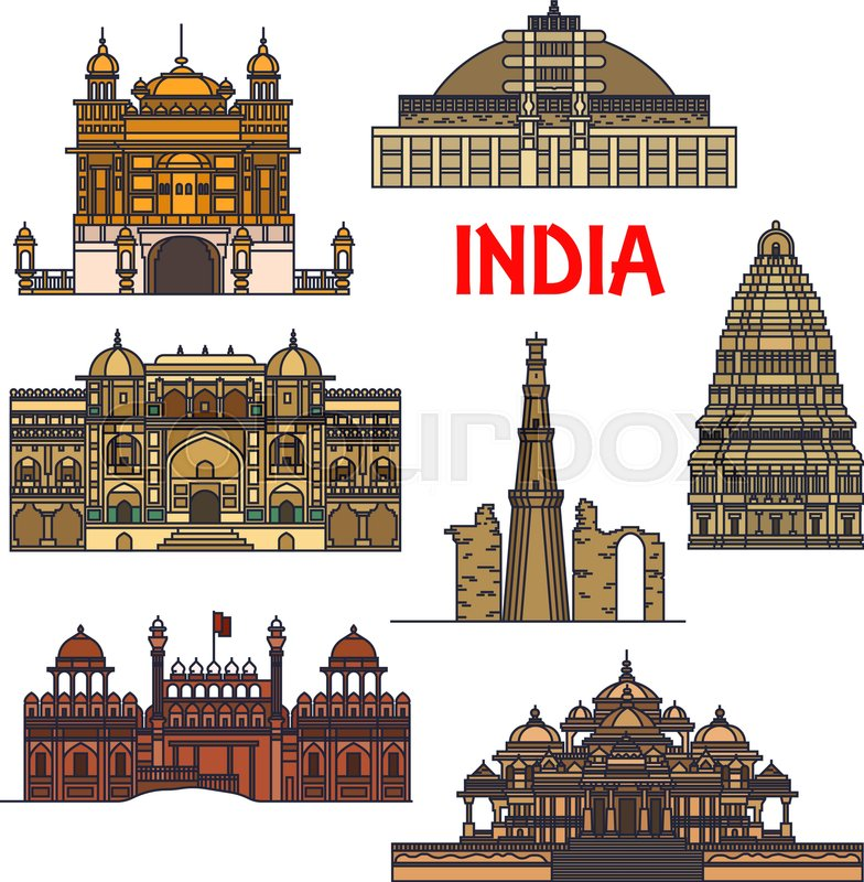 Line Drawing Of Qutub Minar : Travel landmarks of indian architecture thin line icon