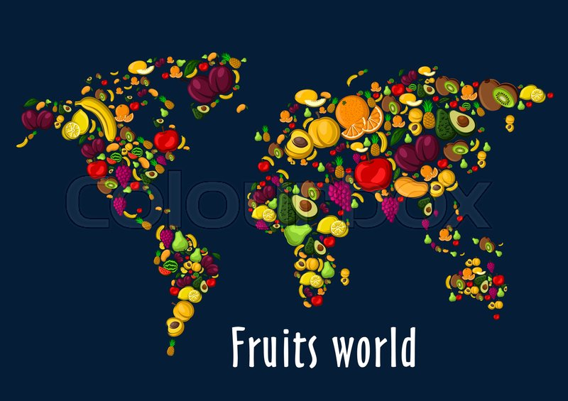 Fruits world map placard background vector wallpaper of globe stock vector of fruits world map placard background vector wallpaper of globe continents of gumiabroncs Gallery