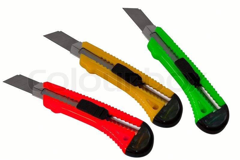 objekt auf wei werkzeug paper cut messer als ampeln farbe stockfoto colourbox. Black Bedroom Furniture Sets. Home Design Ideas