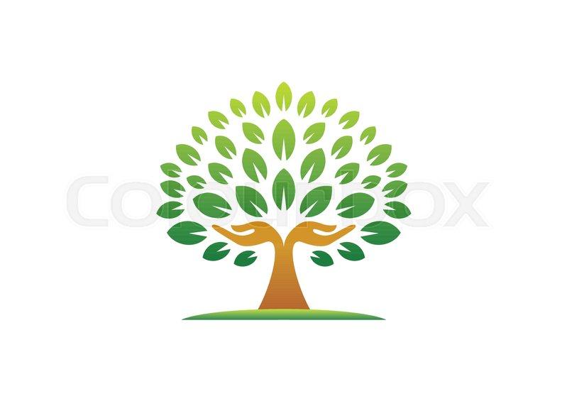 Hand Tree Logo Natural Hands Wellness Concept Icon Yoga Health Care Symbol Vector