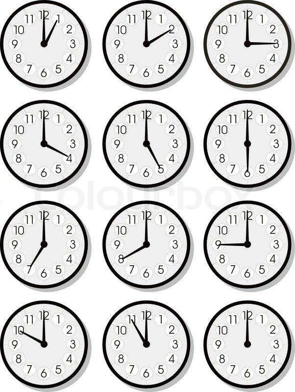 Set of vector clock faces   Vector   Colourbox