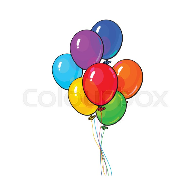 bunch of several bright and colorful balloons cartoon vector rh colourbox com balloons cartoon images balloons cartoon movie