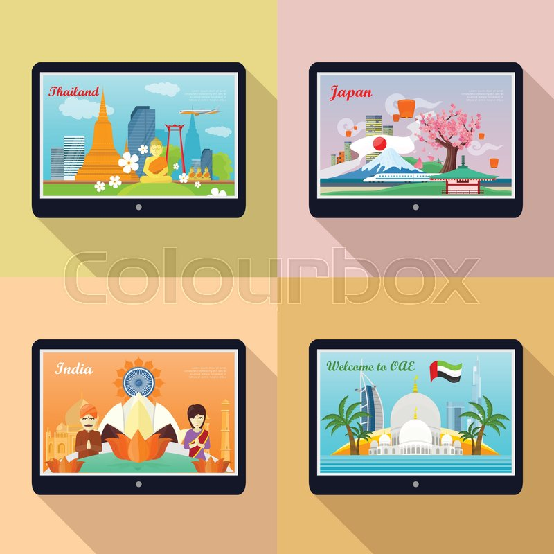 Set of traveling advertisement banners. Welcome to Japan, Thailand, India, United Arab Emirates. Landmarks of the well known asian places of interest on your tablet display. Vector illustration, vector