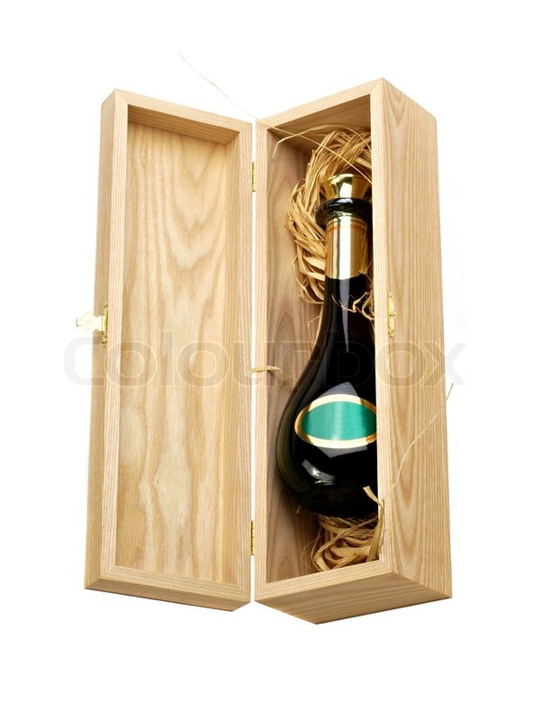Open Wooden Box With Bottle Of Wine Stock Image Colourbox