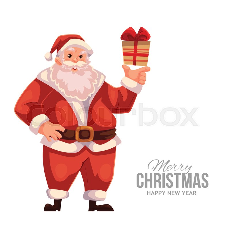 Cartoon style santa claus holding a small gift box christmas vector full length portrait of santa holding a little present box greeting card template for christmas eve stock vector colourbox m4hsunfo