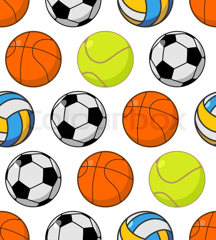 Sports ball seamless pattern. Balls ornament. Basketball and football. Tennis and volleyball. Sports background\, vector