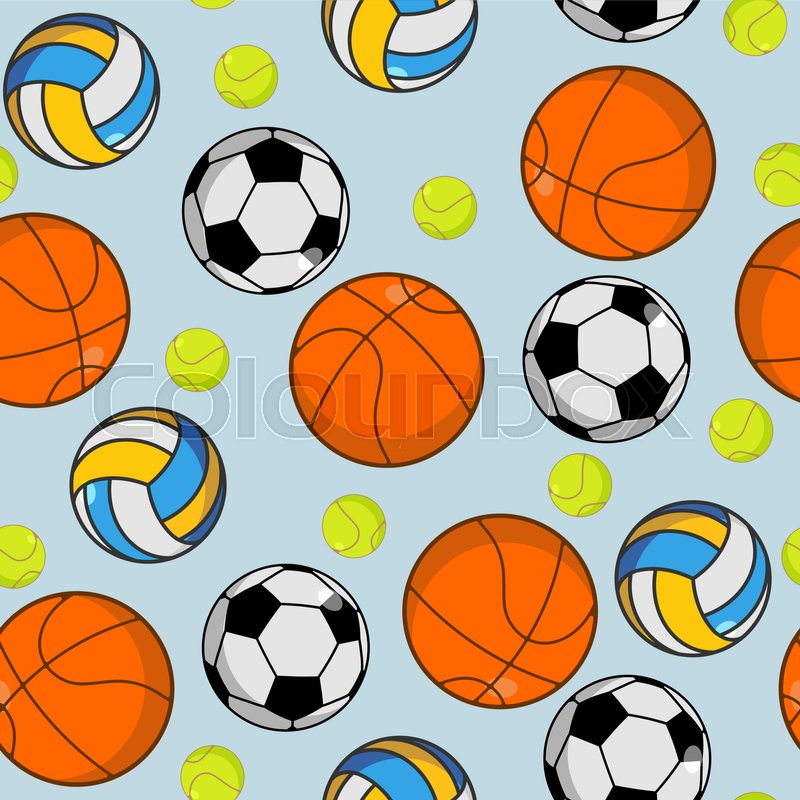 Sports ball seamless pattern. Balls ornament. Basketball and football. Tennis and volleyball. Sports background , vector