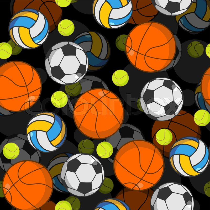 Sports ball 3d seamless pattern. Balls decoration. Basketball and football. Tennis and volleyball. Sports volume background , vector