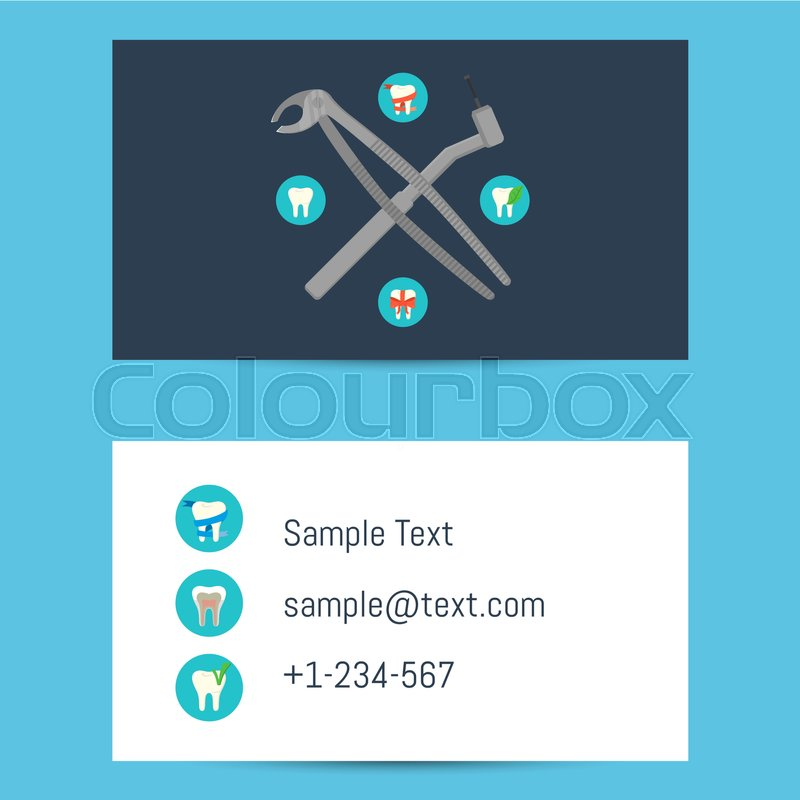 Professional blue and white business card template for dentists with professional blue and white business card template for dentists with round teeth icons and dentist equipment vector illustration wajeb Choice Image
