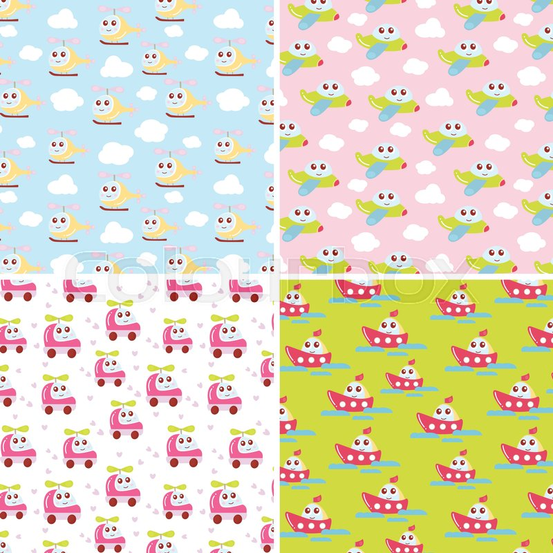 Kids Patterns Set With Cute Car Airplane Helicopter Ship Flat Vector Texture Collection Perfect For Baby Fabric Wallpaper Textile