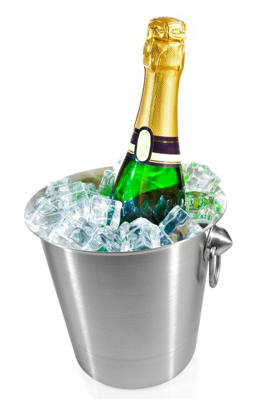 Champagne Bottle In A Bucket With Ice Stock Photo