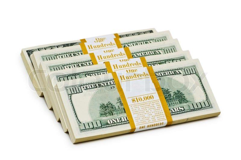 ten thousand dollar stacks on the white stock photo colourbox