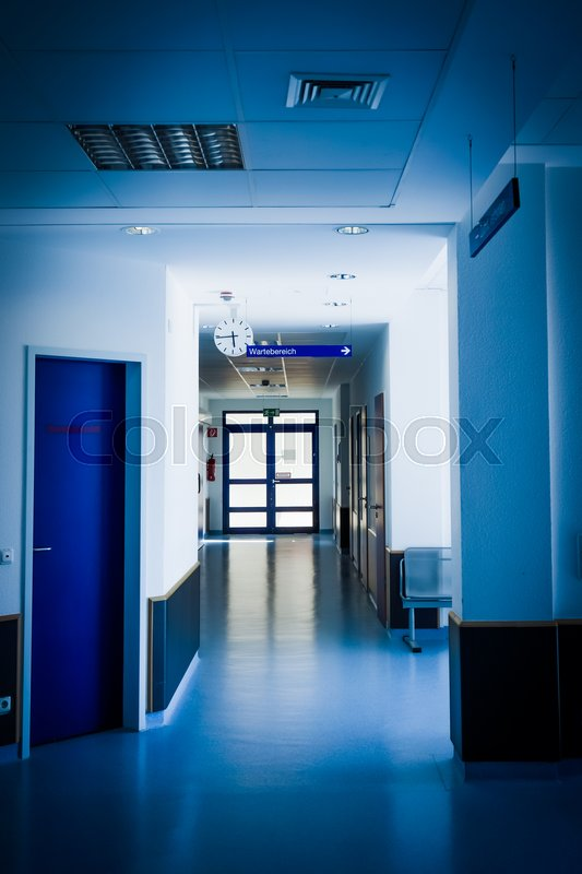 Corridor in hospital. hospital hallway. hospital interior, stock photo