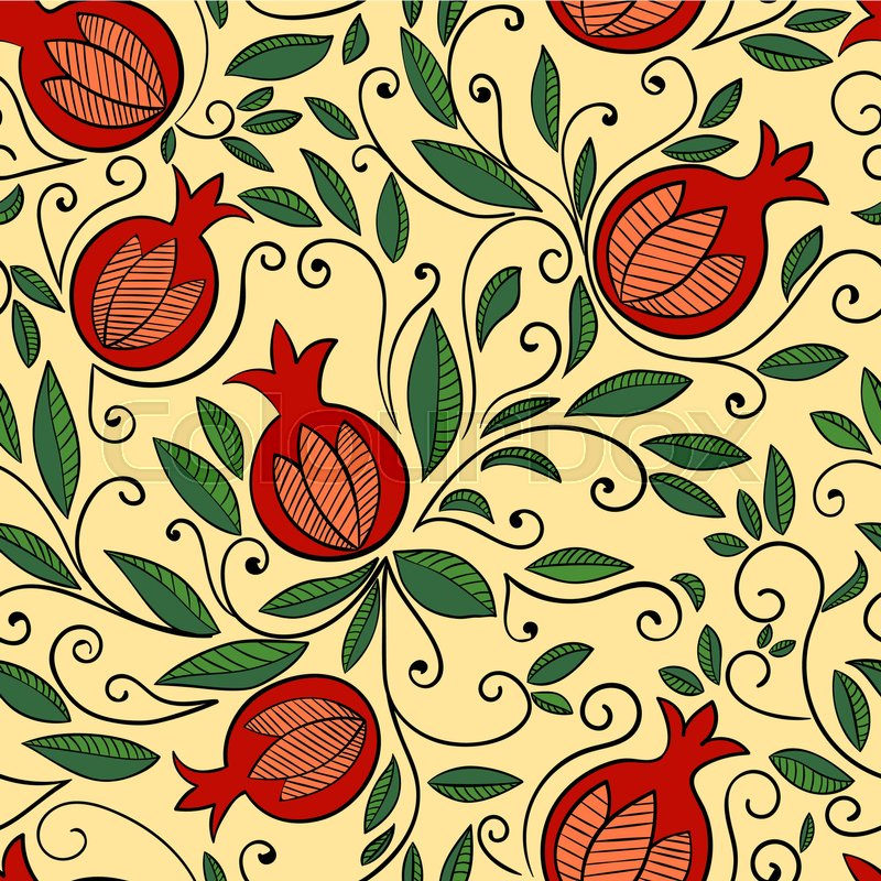 Seamless Pattern With Pomegranate Rosh Hashanah Symbol Floral