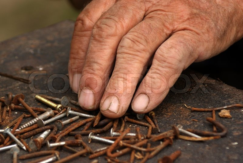 old hand sorted used nails and screws stock photo colourbox. Black Bedroom Furniture Sets. Home Design Ideas