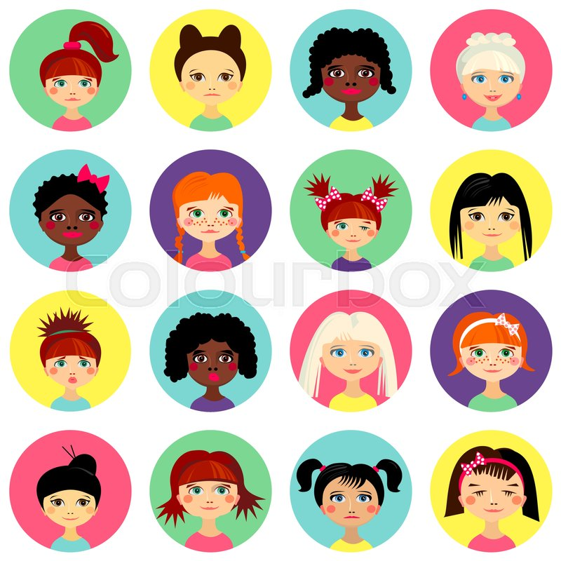 multinational female face avatar profile heads with multi colored