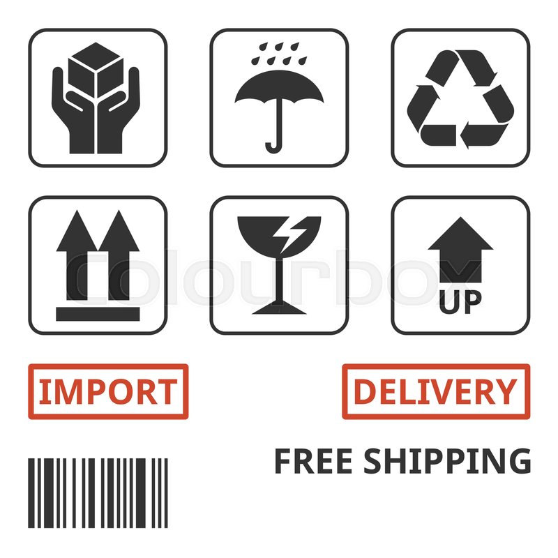 shipping and package handing symbol for carton box handle with care