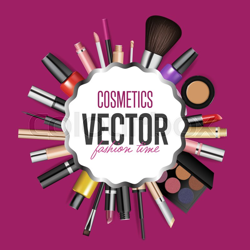 Makeup Cosmetics Tools Fashion Vector Background Beauty