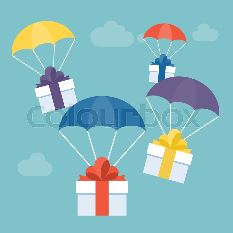 Send gift and delivery service concept illustration vector gift box send gift and delivery service concept illustration vector gift box with colorful parachute for greeting card suitable for christmas or new year m4hsunfo