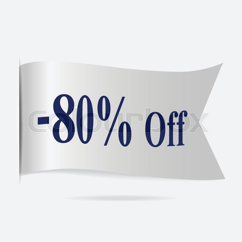 Sale price 80 % label, silver ribbon     | Stock vector