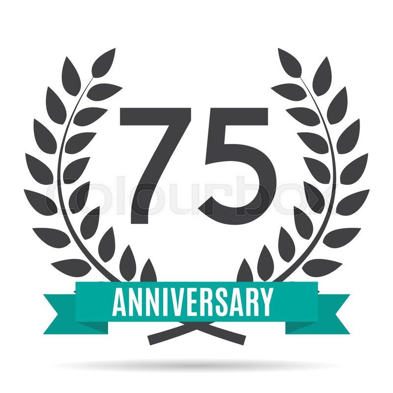Template Logo 75 Years Anniversary Vector Illustration Eps10 Stock